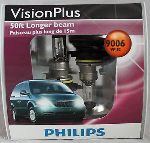 Genuine Philips Vision Plus 50ft Brighter 9006 HB4 VPS2 Halogen Bulbs NEW Lamp