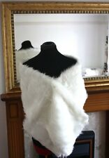 UK WHITE Wedding Prom Faux Fur Wrap Jacket Stole Shawl / Bolero Size 8-14 M P11