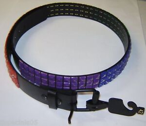 Leather Rainbow Colored Riveted Belt Size 42 Must See!!