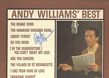 "(2) ANDY WILLIAMS SIGNED IN PERSON ""BEST OF"" ALBUM COVER AND RECORD Christmas"