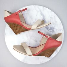Diana Ferrari 6.5 Wedge Delia Leather Peep Toe Ankle Strap Nude Heels Shoes S32