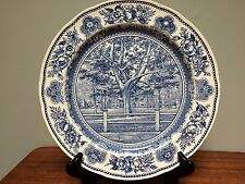 "YALE COLLEGE Wedgwood 10.5"" Blue & White Plate 1949 College Fence & Campus"