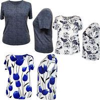 Ladies Women Top Floral Pattern Regular Fit Short Sleeve Size 10 12 14 16 18 20