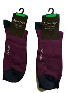 NEW 2 PAIRS M&S AUTOGRAPH MEN'S SOCKS MODAL BLEND WITH PIMA COTTON SIZE 9 - 12
