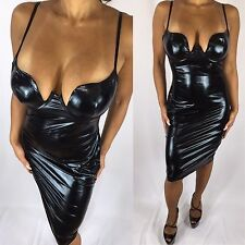 Connie's Wet Leather look Black Midi Dress w/ Spaghetti straps & Molded cups L