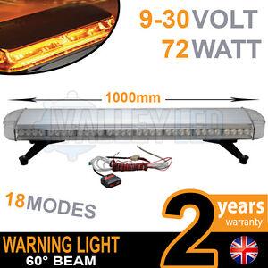 72w LED Warning Light Bar Beacon Amber Recovery Strobe 12v or 24v Fixed 1000mm