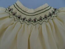 Vintage Handmade Bishop Smocked Dress 6M 9M Baby Girl Cream w red green Holiday