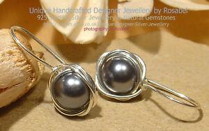 Pearl 925 Sterling Silver Earrings Dark Grey Handmade Jewellery #0218-2