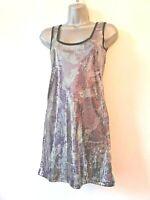 Internacionale 10  silver purple Sequin stretch bodycon sleeveless stretch Dress