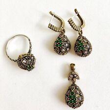 Handmade Turkish Emerald Jewelry Set Sterling Silver Earrings Pendant Ring 9