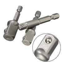 3 Pcs Socket Adapter Set Hex Shank to 1/4 3/8 1/2 Inch Impact Driver Drill Bits