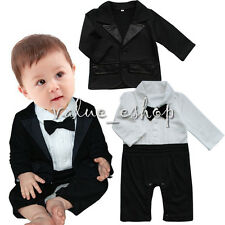 Newborn Kids Baby Boy Infant Gentleman Clothes Tuxedo Formal Suit Romper Outfits