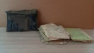 Military bag with many maps of the USSR 1950s.