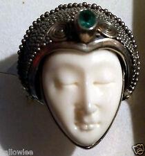 Bali Princess CARVED Bone IMAGE Kagem Zambian Emerald RING Sterling Silver 12+ct