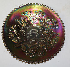 Antique carnival glass good luck pattern Plate – Northwood - Amethyst