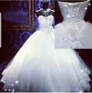 White Ivory Strapless Crystal Sequins tulle Bridal Plus Size Wedding Dress Size