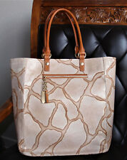 Brahmin Light BARINGO Embossed Leather Tote Shoper + Matching Wallet **RARE**