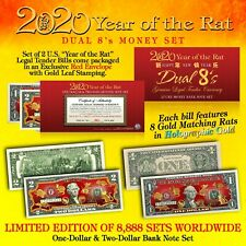2020 Chinese New YEAR OF THE RAT Lucky Money U.S. $1 & $2 Set DUAL 8's GOLD RATS