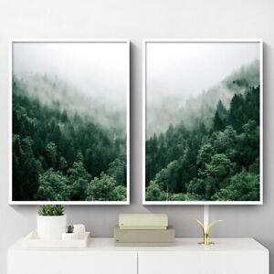 Foggy Forest Wall Art Canvas Painting Scandinavian Poster Print Nature Landscape