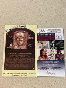 Vladimir Guerrero signed HOF plaque postcard * JSA *