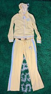 NEW Vintage Aeropostale Yellow Blue Top & Bottom Hoodie + Pants Set VTG