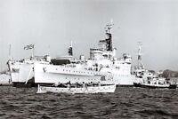 Postcard RN HMS Sheffield, Southampton Class Cruiser c1960s at Portsmouth D47