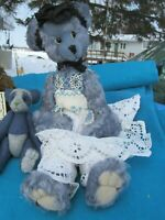 "VINTAGE BLUE MOHAIR TEDDY BEAR GIRL LACE DRESS ARTIST  ADVANTAGE 16"" BENTARMS"