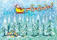 "Boxed Christmas Cards Santa Sleigh Design, 5"" x 7"", 16 Cards & 17 White Envelope"