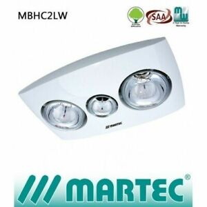 Martec Contour 2 Bathroom Heater with Exhaust Fan & Light White With Remote
