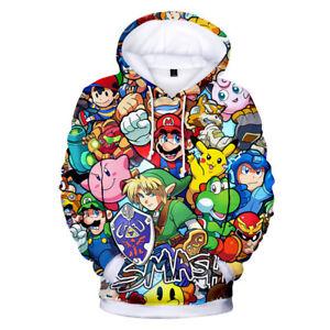 Super Mario Bros Brawl Hoodie Jacket Gaming Yoshi Pikachu Link Wii SNES 3DS AU