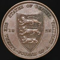 1923 | Jersey George V One Twenty-Fourth Of A Shilling | Bronze | KM Coins