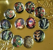 """New 12 Hand-made 1.5"""" Glass CHRISTMAS Ref Magnet Decor Office & home"""