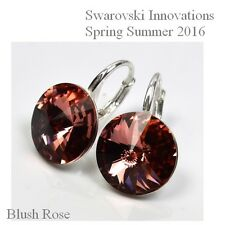 Pendientes DE PLATA hecho con cristales de Swarovski Bush Rose - 12mm
