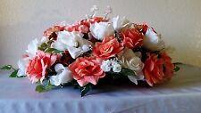 Coral Ivory Rose Hydrangea Head Table Flower Arrangement - Wedding Decoration