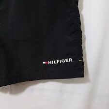 Tommy Hilfiger Swim Trunks Shorts Black Spell Out Mesh Lining Mens Size Medium