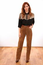 vintage brown suede leather high waist trousers 70s 80s