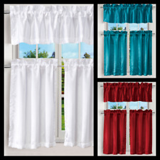 "3PCS KITCHEN RESTAURANT SATIN WINDOW CURTAIN 2 TIER + 1 VALANCE ROD POCKET 24"" L"