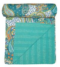 Kantha Quilt Indian Green Paisley Bedding Blanket Handmade King Size Throw