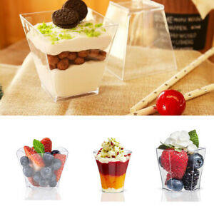 Small Mini Clear Plastic Disposable Party Shot Teardrop Dessert Cups Birthday