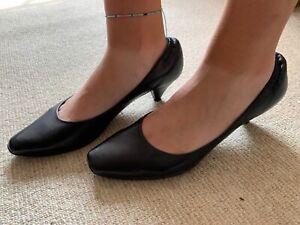 Nine West Black Leather Heels Size10W (UK 41) Brand New