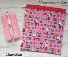 Girls PINK HELLO KITTY BIG TOP Lined Drawstring Wash Bag Toiletry Bag Cotton