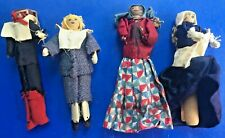 Lot of 4 Vintage Wooden Clothespin Dolls/ Ornaments Pilgrims/Peasants