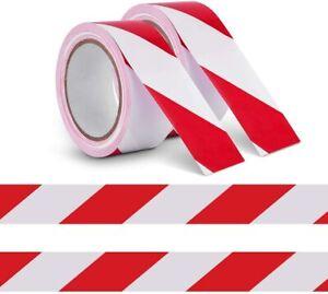 SOCIAL DISTANCING FLOOR TAPE PVC HAZARD WARNING TAPE ROLLS 48MM X  33M RED/WHITE