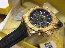 23103 Invicta Akula 58mm Men Quartz Chrongraph GP Case Black Leather Strap Watch