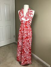 Vintage Gay Gibson Maxi Halter Dress Psychedelic 1960s Red-Orange XS