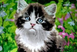 """Flower Garden by Greg Cuddiford Kitten Tapestry Throw Rug 50"""" x 60"""""""