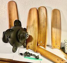 """52"""" USED Wood Blade Ceiling Fan Underwater Laboratories, Beautiful Wood!"""