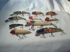 Vintage 10 Old Wooden Fishing Lures Creek Chub Pflueger & More