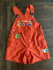 Disney Mickey & Co Overalls Shorts Size 24M Orange Mickey Mouse Soccer Li'l Kick