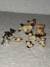 Miniature Cats Porcelain Bone China Vintage Cat Figurine Lot Siamese Dollhouse